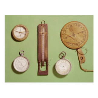 Scott's compass, thermometer, sundial, postcard