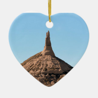 Scottsbluff Nebraska Chimney Rock Spire Ceramic Heart Ornament