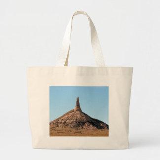 Scottsbluff Nebraska Chimney Rock Spire Large Tote Bag
