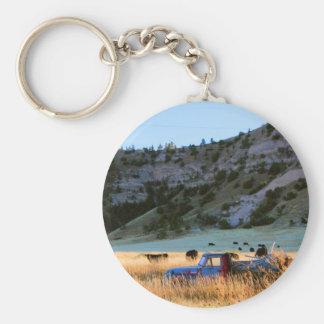 Scottsbluff Nebraska Farming Harvest Fall Sunset Basic Round Button Keychain