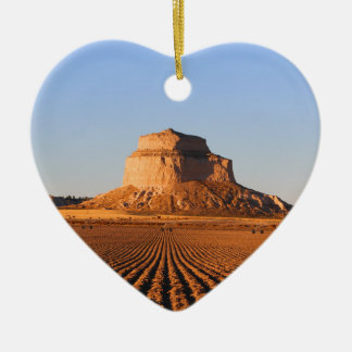 Scottsbluff Nebraska Farming Harvest Fall Sunset Ceramic Heart Ornament