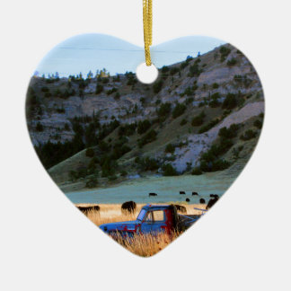 Scottsbluff Nebraska Farming Harvest Fall Sunset Ceramic Heart Ornament