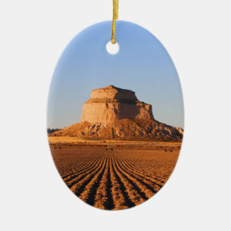 Scottsbluff Nebraska Farming Harvest Fall Sunset Ceramic Oval Ornament