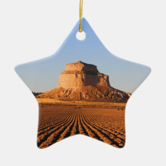 Scottsbluff Nebraska Farming Harvest Fall Sunset Ceramic Star Ornament
