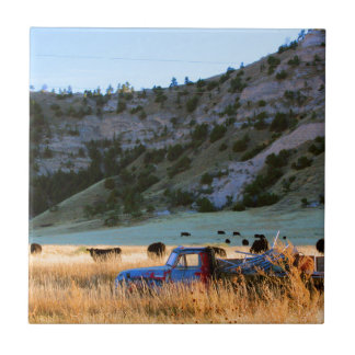 Scottsbluff Nebraska Farming Harvest Fall Sunset Ceramic Tiles