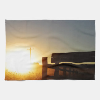 Scottsbluff Nebraska Farming Harvest Fall Sunset Hand Towels