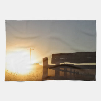 Scottsbluff Nebraska Farming Harvest Fall Sunset Kitchen Towel