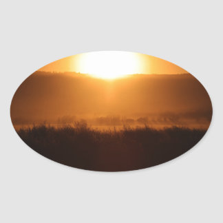 Scottsbluff Nebraska Farming Harvest Fall Sunset Oval Sticker