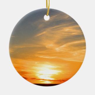 Scottsbluff Nebraska Farming Harvest Fall Sunset Round Ceramic Ornament