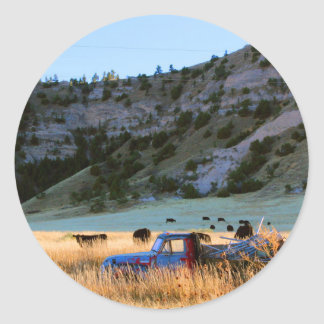 Scottsbluff Nebraska Farming Harvest Fall Sunset Round Sticker