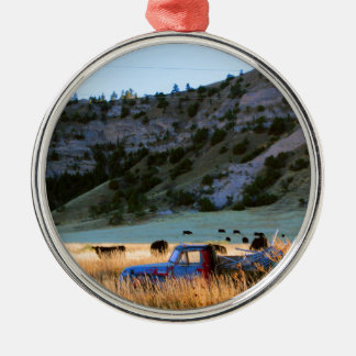 Scottsbluff Nebraska Farming Harvest Fall Sunset Silver-Colored Round Ornament