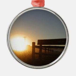 Scottsbluff Nebraska Farming Harvest Fall Sunset Silver-Colored Round Ornament