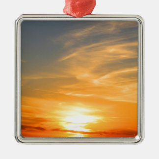 Scottsbluff Nebraska Farming Harvest Fall Sunset Silver-Colored Square Ornament