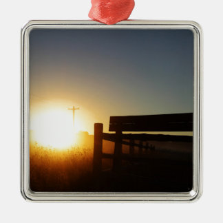 Scottsbluff Nebraska Farming Harvest Fall Sunset Silver-Colored Square Ornament
