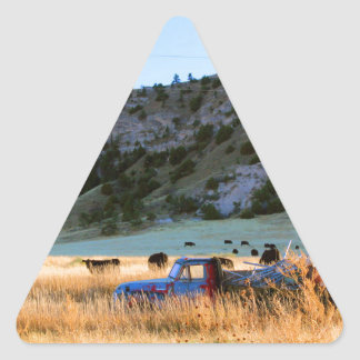 Scottsbluff Nebraska Farming Harvest Fall Sunset Triangle Sticker