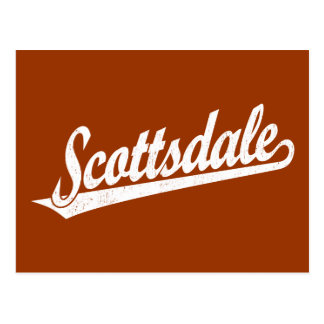 Scottsdale script logo in white distressed post card