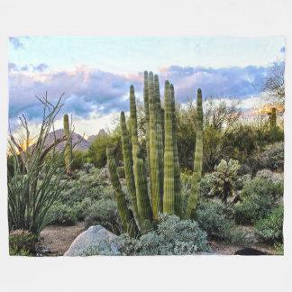 Scottsdale Succulent Sunset Fleece Blanket