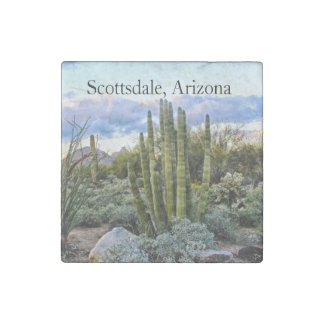 Scottsdale Succulent Sunset text Stone Magnets