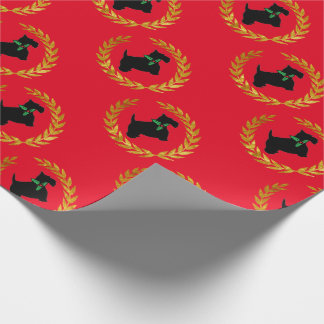 Scotty and Gold Wreath Wrapping Paper