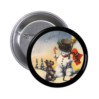 "Scotty and Snowman say ""cheerio!"" 2 Inch Round Button"