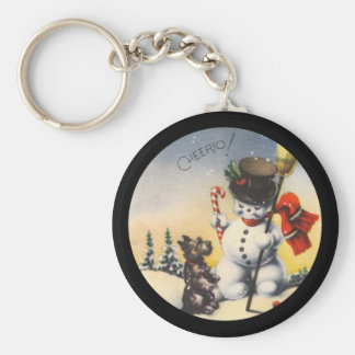 "Scotty and Snowman say ""cheerio!"" Basic Round Button Keychain"