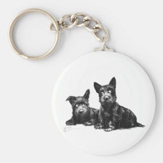 SCOTTY DOGS CHECK AND RECHECK BASIC ROUND BUTTON KEYCHAIN