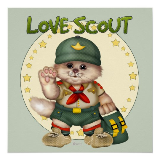 SCOUT CAT CARTOON Perfect Poster