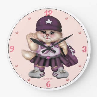 SCOUT CAT GIRL2  ROUND CLOCK LARGE