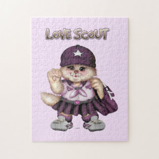 SCOUT CAT GIRL CARTOON PUZZLE 11 X 14