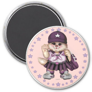SCOUT CAT GIRL LOVE ROUND Magnet  Standard 3 Inch
