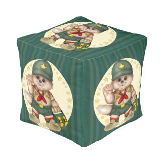 SCOUT CAT Polyester Cubed Pouf (SMALL)