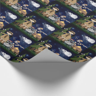 Scout Gir Cartoon Woodland Animals by the Campfire Wrapping Paper
