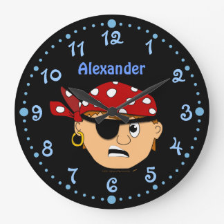Scowling Boy Pirate Personalized Clock w/ Minutes