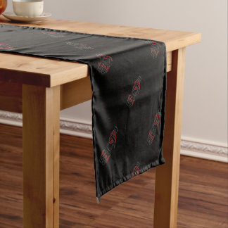 SCP19 white shadow black background Short Table Runner