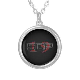 SCP19 white shadow black background Silver Plated Necklace
