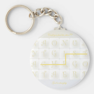 scrabble christ basic round button keychain