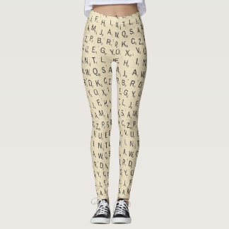 Scrabble Tile Pattern Leggings