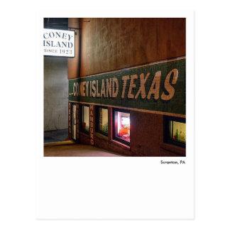 Scranton PA-Coney Island Texas Wieners Postcard