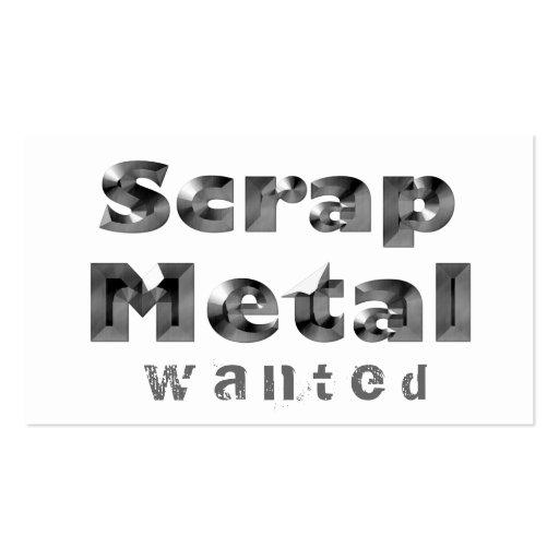 Scrap Metal Wanted Business Card