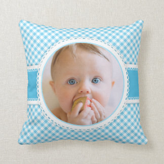 Scrapbook Page Baby Photo Photograph Blue Gingham Throw Pillow