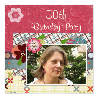 Scrapbook Style 50th Birthday Party Add Your Photo Card
