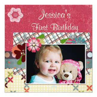 Scrapbook Style Girls' 1st Birthday Photo Card