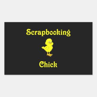 Scrapbooking Chick Rectangular Stickers