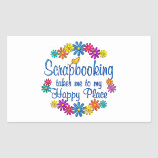 Scrapbooking Happy Place Rectangle Stickers