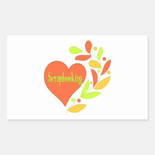 Scrapbooking Heart Rectangular Stickers