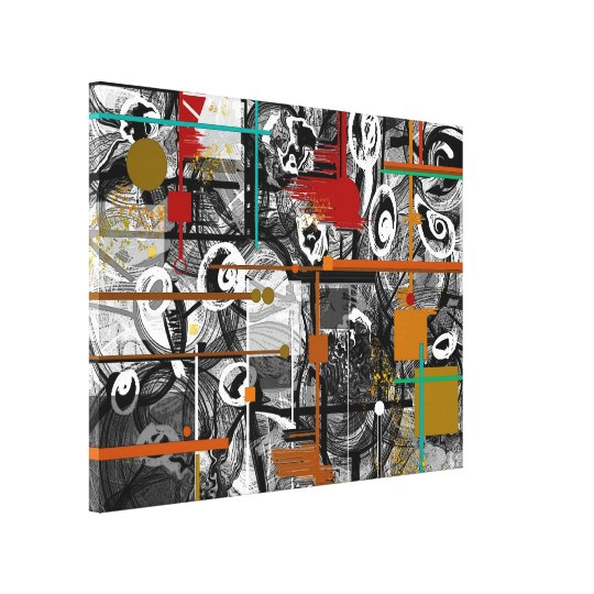 Scrappy Abstract Wrapped Canvas