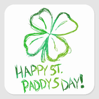 Scratch Card Art - St. Paddy's Day Square Sticker