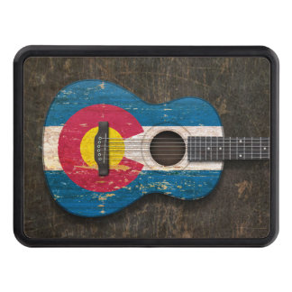 Scratched and Worn Colorado Flag Acoustic Guitar Tow Hitch Cover