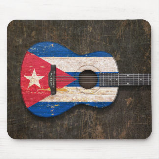 Scratched and Worn Cuban Flag Acoustic Guitar Mouse Pad