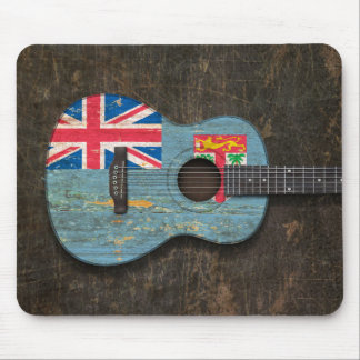 Scratched and Worn Fiji Flag Acoustic Guitar Mouse Pad